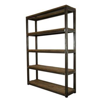 Raumteiler Mila , Eisen mit rustikalem recyceltem Teakholz