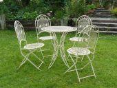 Eisensitzgruppe 4 Stühle klappbar mit Tisch weiß