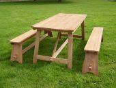 Picknickset massiv Teak Tisch mit 2 Bänken