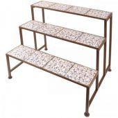 op30750098 Gartentreppe aus Keramik und Eisen Blumenoptik
