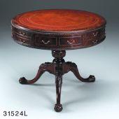 J31524 Tisch Drum Chippendalestil , Lederplatte 91*75 cm