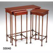33040 Set von 3 Tischchen Mahagonie oder Wallnuss
