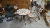Eisen/Stein Sitzgruppe 2 Stühle mit Tisch
