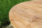 massive Teakholzplatte 4 cm rund